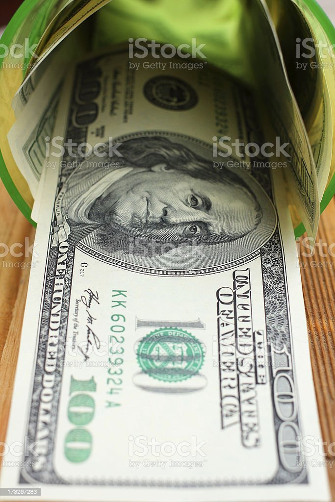 Many dollars banknotes stock photo