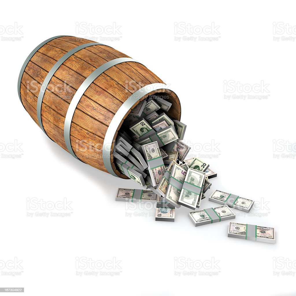 Many dollars fall out of a wooden barrel. royalty-free stock photo