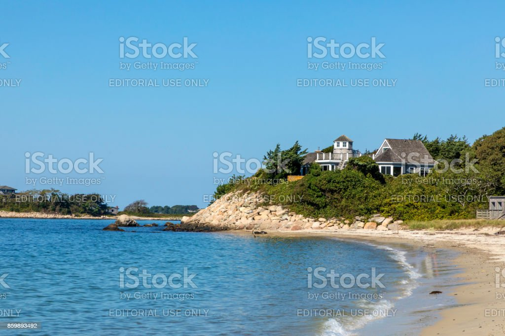 many expensive mansion houses  with huge private area landscape are placed at the atlantic ocean stock photo