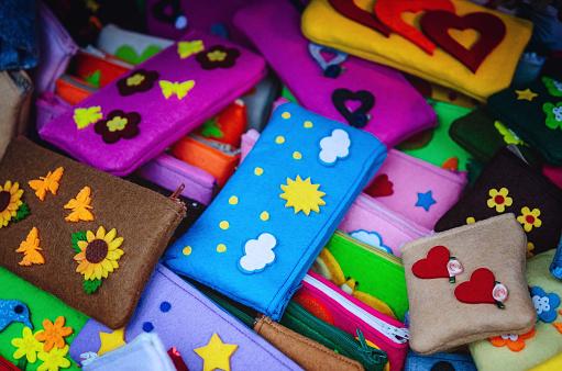 many felt handmade pencil cases for children's school