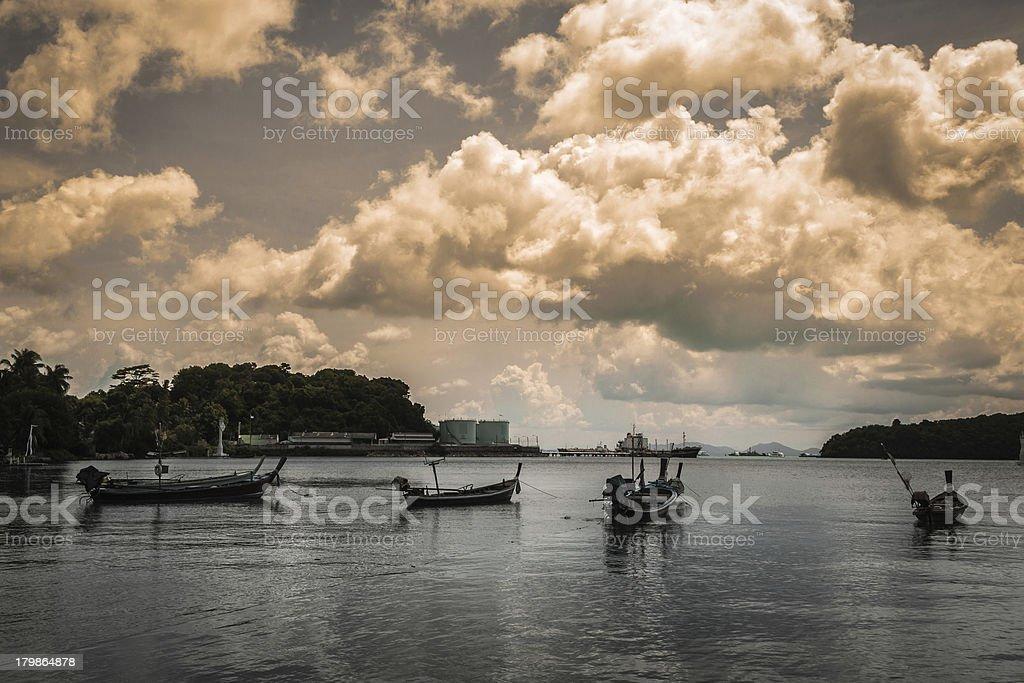 many fishing boat on the sea royalty-free stock photo