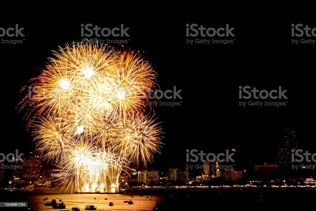 many flashing fireworks with night cityscape background celebrate new year royalty free stock photo