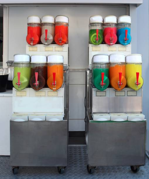 many flavors of iced slush with the dispenser stock photo