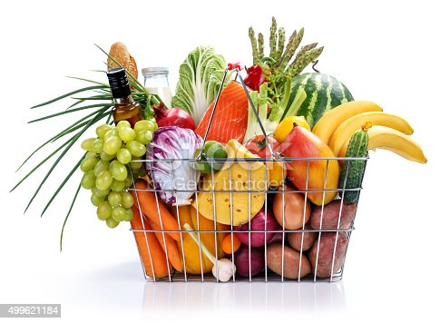 istock Many foods in market basket 499621184