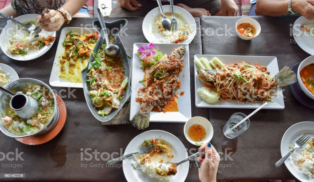 Many foods On the table Buffet food in the morning. royalty-free stock photo