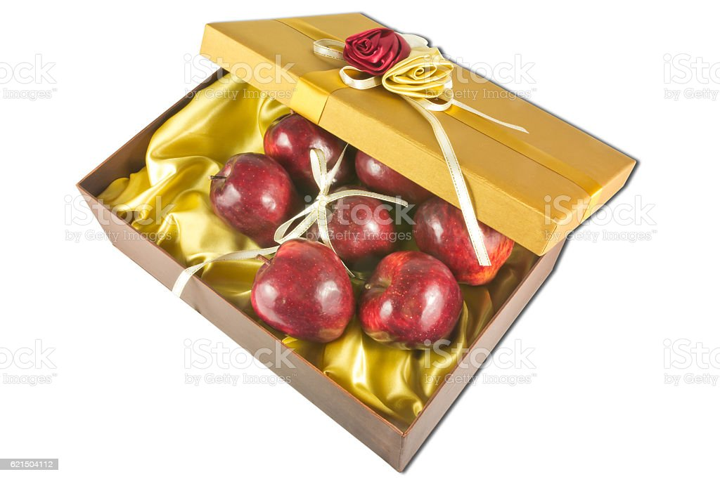 many fresh apples in give box Lizenzfreies stock-foto