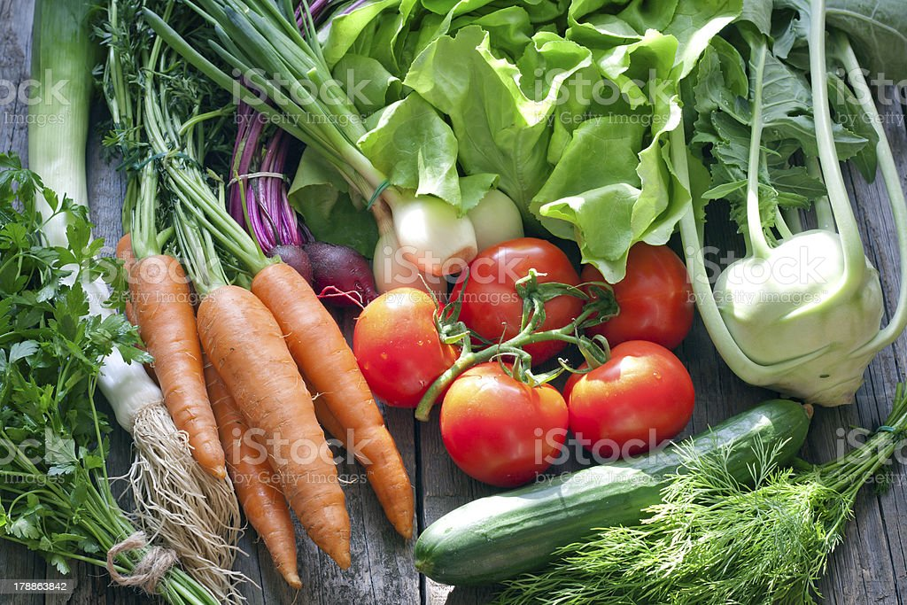 Many fresh spring organic vegetables royalty-free stock photo