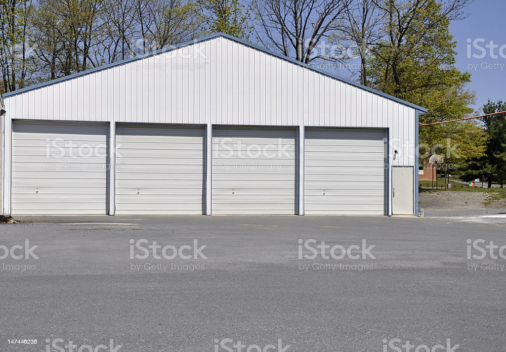 many garage doors stock photo