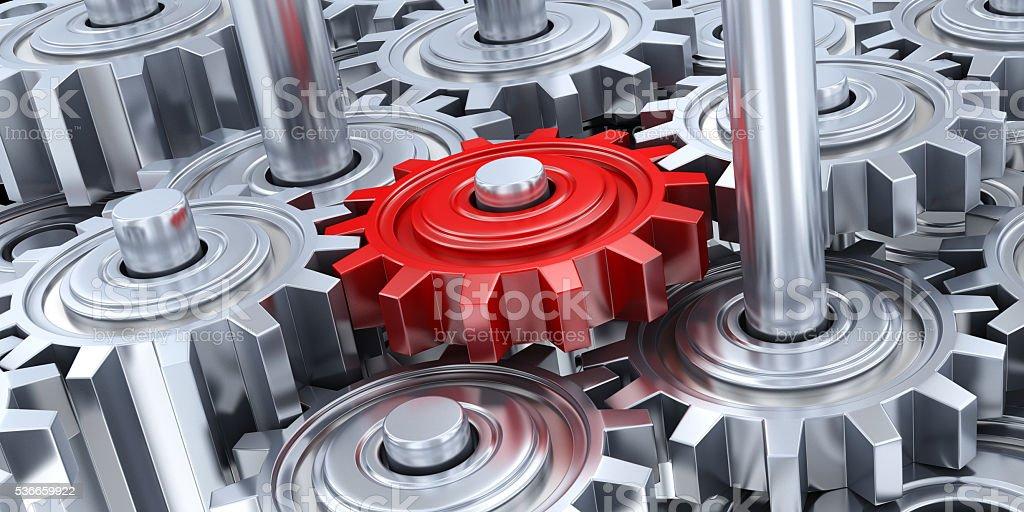 Muchos equipos y rojo de engranajes - foto de stock