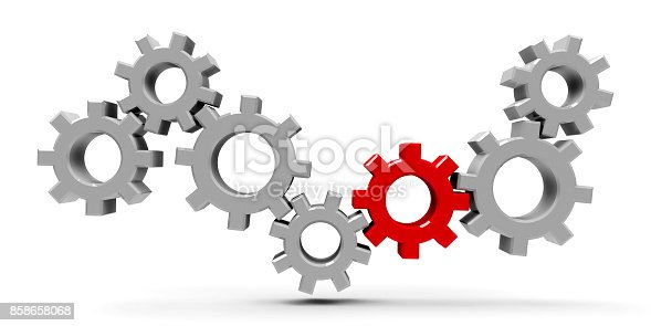 istock Many gears with red gear #2 858658068