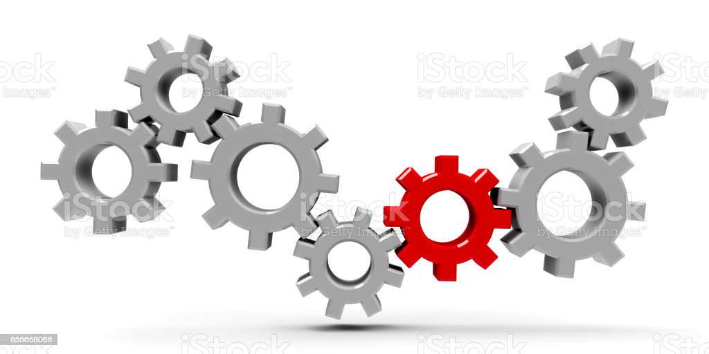 Many gears with red gear #2 stock photo