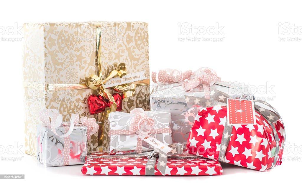many gifts on white background stock photo