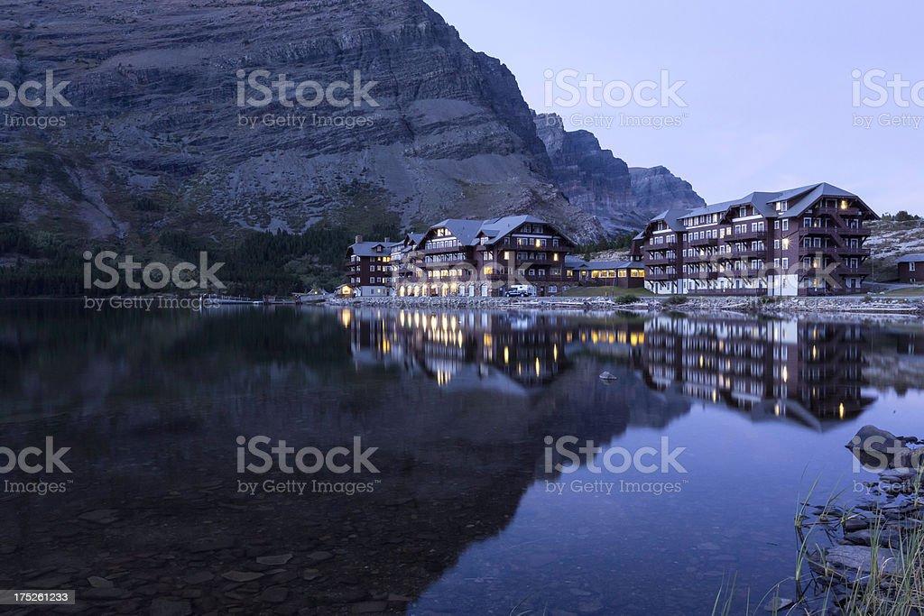 Many Glacier Hotel Twilight royalty-free stock photo
