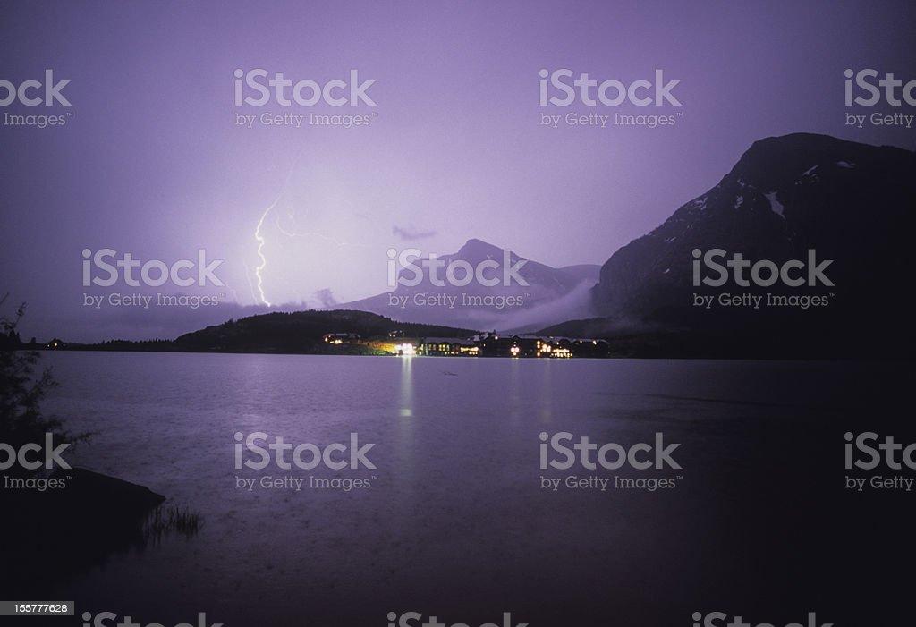 Many Glacier Lightning royalty-free stock photo