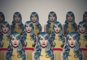 Many Glamour Beauty Woman Clones. Identical Crowd Concept.