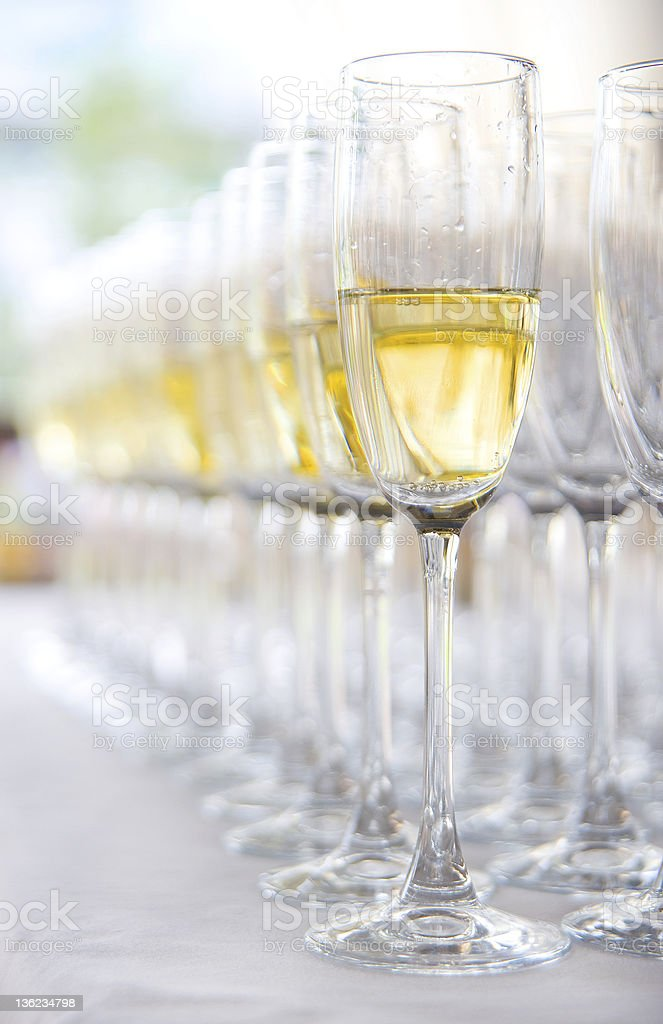Many glasses with champagne royalty-free stock photo