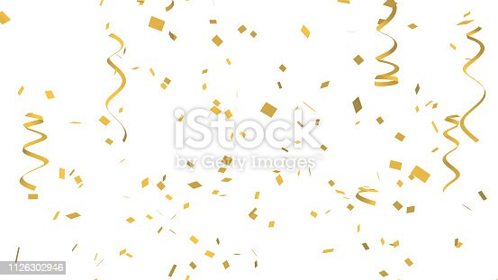 istock Many golden confetti and ribbon on white background for celebration event and party for New Year, Birthday party, Christmas or any holiday. 3d abstract Illustration 1126302946