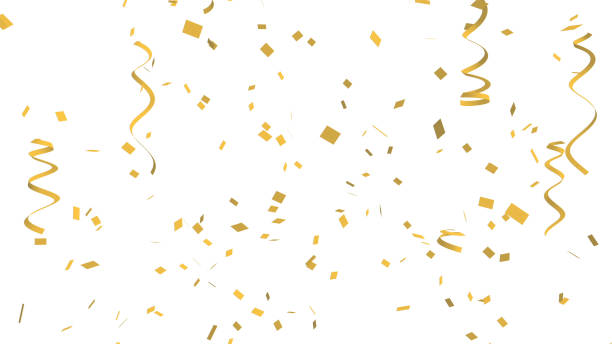 many golden confetti and ribbon on white background for celebration event and party for new year, birthday party, christmas or any holiday. 3d abstract illustration - confetti stock pictures, royalty-free photos & images