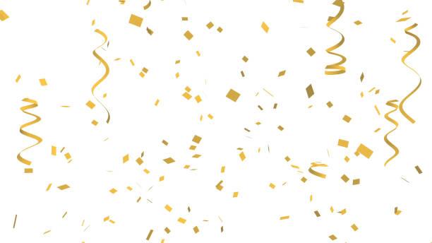 veel gouden confetti en lint op witte achtergrond voor viering evenement en feest voor nieuwjaar, partij van de verjaardag, kerstmis of elke vakantie. 3d abstracte illustratie - confetti stockfoto's en -beelden
