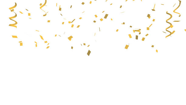 Many golden confetti and ribbon on white background for celebration event and party for New Year, Birthday party, Christmas or any holiday. 3d abstract Illustration stock photo