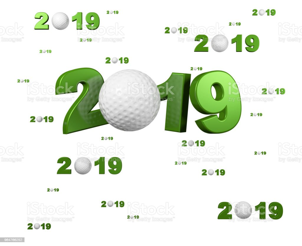 Many Golf 2019 Designs with many Balls royalty-free stock photo
