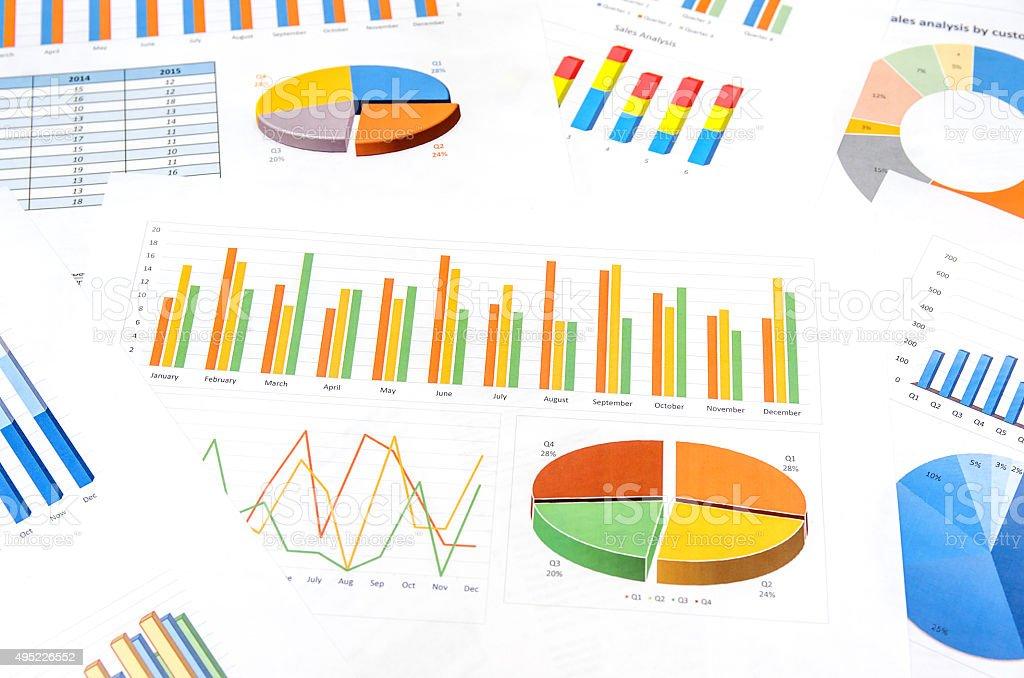 Many graphs stock photo