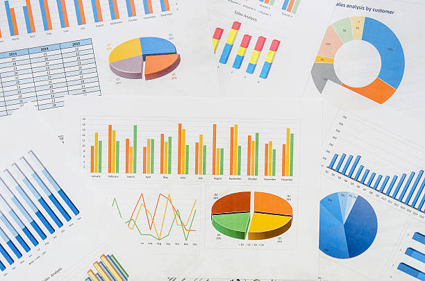 molti grafici - diagramma a colonne foto e immagini stock