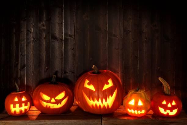muitos halloween jack o lanternas à noite contra a madeira escura - lanterna de halloween - fotografias e filmes do acervo