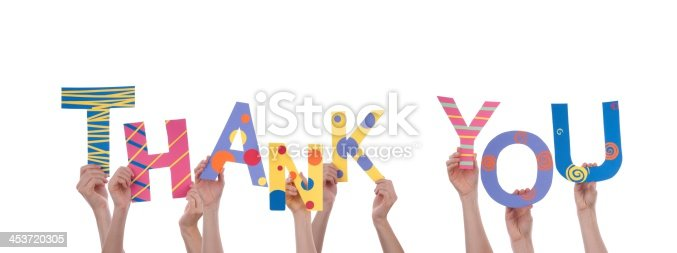 istock Many Hands Holding Thank You 453720305