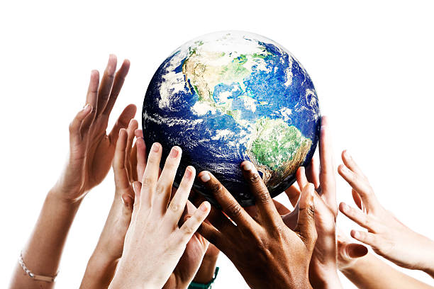 many hands reach up for planet earth - environmental consciousness stock pictures, royalty-free photos & images