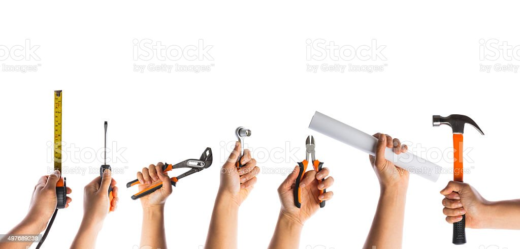 many hands with tools stock photo