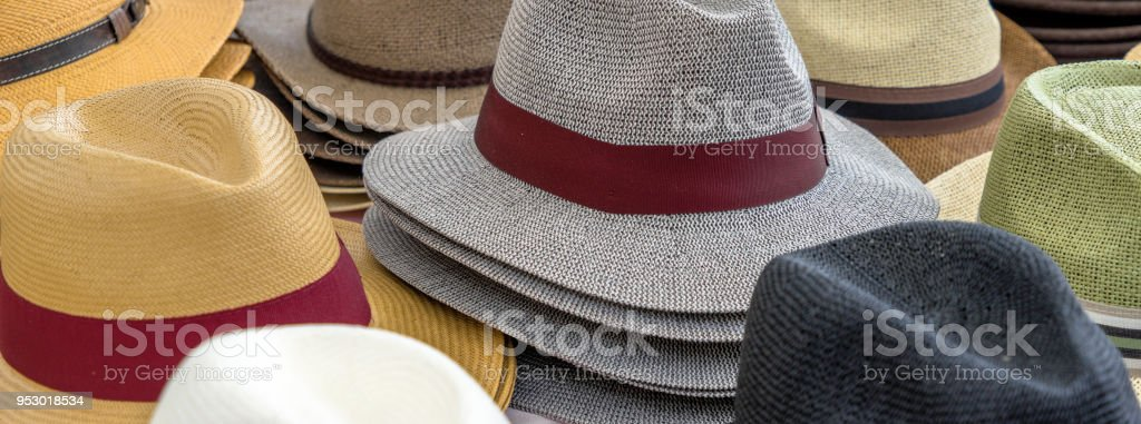 8b52822d43a55 Many hats for men in different shapes and colors in one display for sale  royalty-
