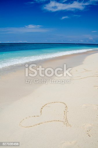istock Many Heart Drawings in the White Sand Tropical Beach 527035456