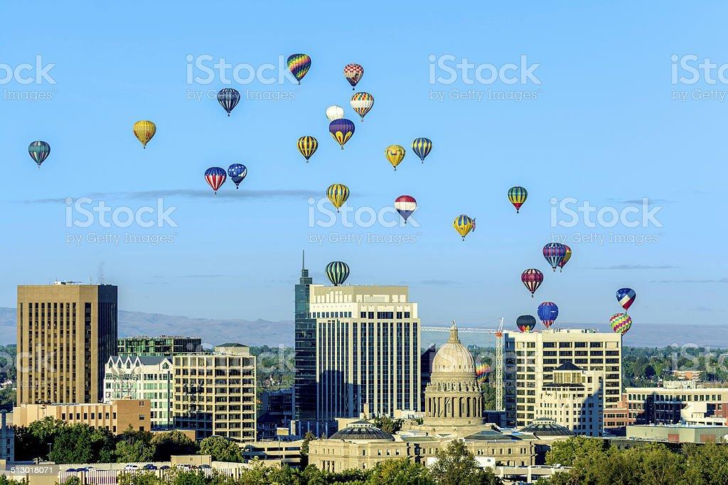 Many hot air ballons over the city of Boise Idaho stock photo