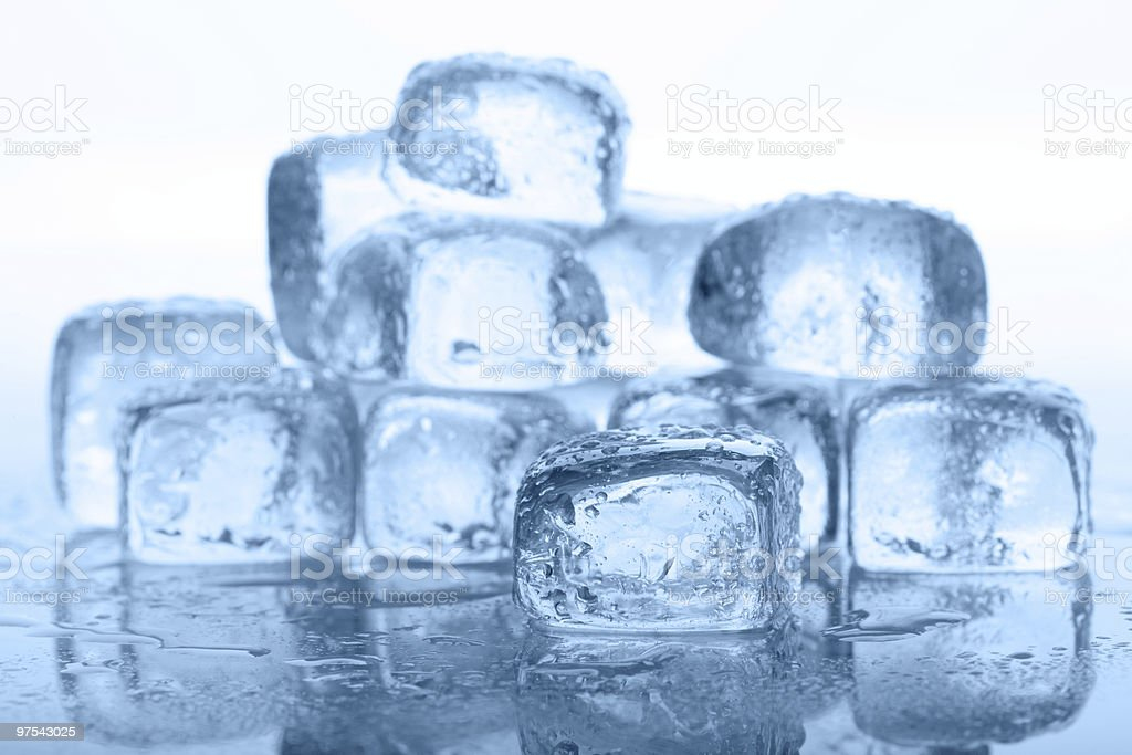 Many Ice Cubes in Blue royalty-free stock photo