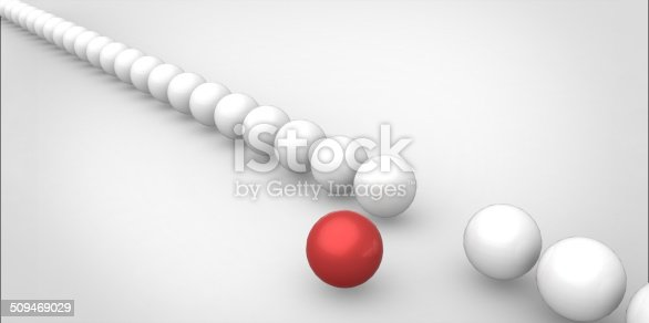 139880782istockphoto Many identical 3d white spheres and only one red sphere 509469029