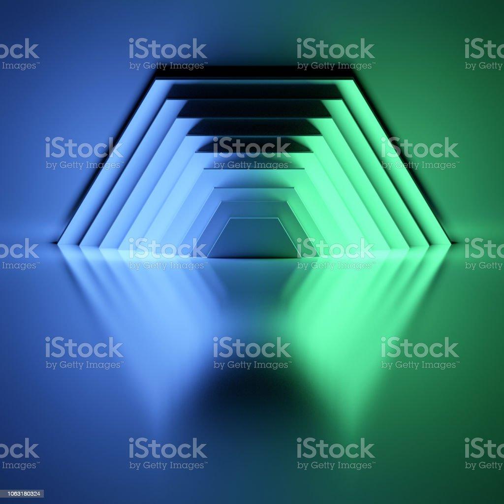 Many illuminated hexagons stock photo