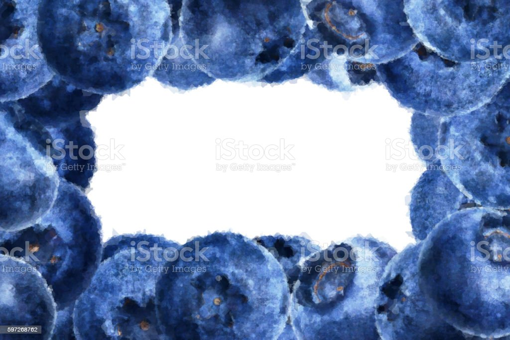 Many juicy and fresh watercolor blueberries on white background royalty-free stock photo