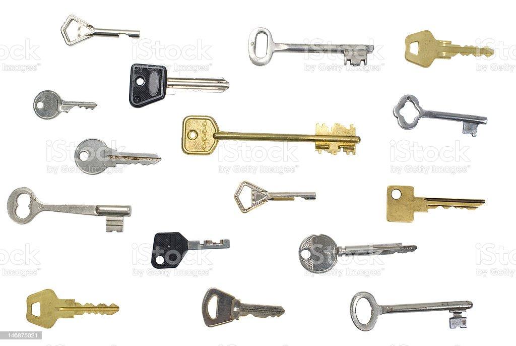 many keys isolated background royalty-free stock photo