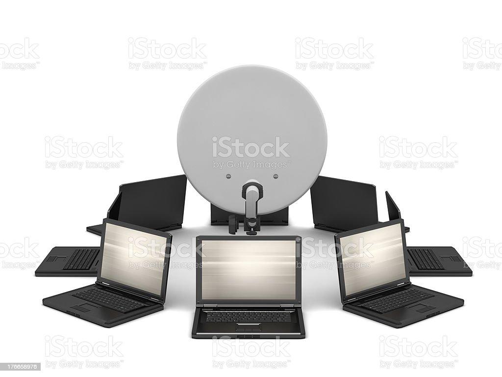 Many laptops and satellite on white background royalty-free stock photo