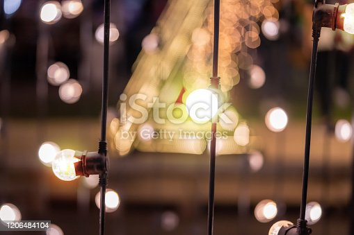 Many Light bulb in winter festival night market for decoration and background celebration concept.