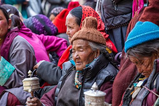 Lamayuru Gompa, Ladakh, India - june 14, 2015 : Many local Buddhist people during the festival in monastery Lamayuru, Ladakh, North India