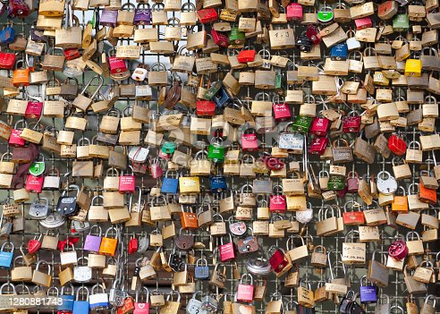 Many lockers as symbol of lave and couples at bridge Hohenzollernbruecke in Cologne