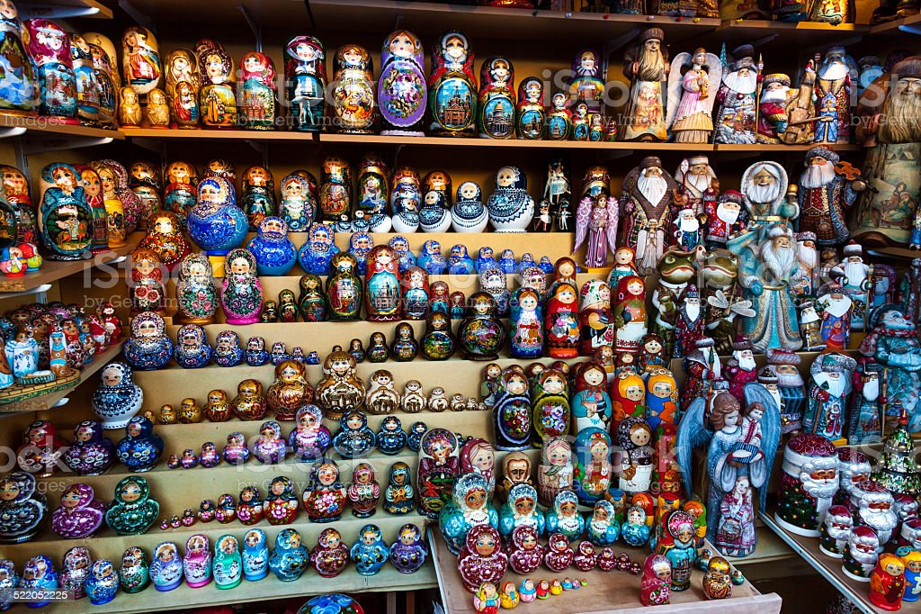 Many Matrioska dolls stock photo