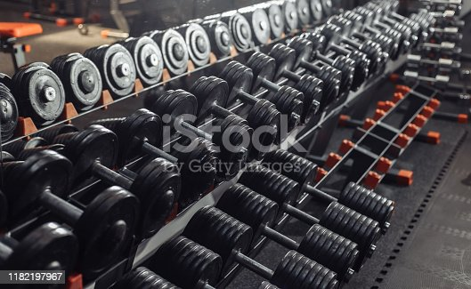 Many metal heavy dumbbells on a rack in the gym. Free Weight Training