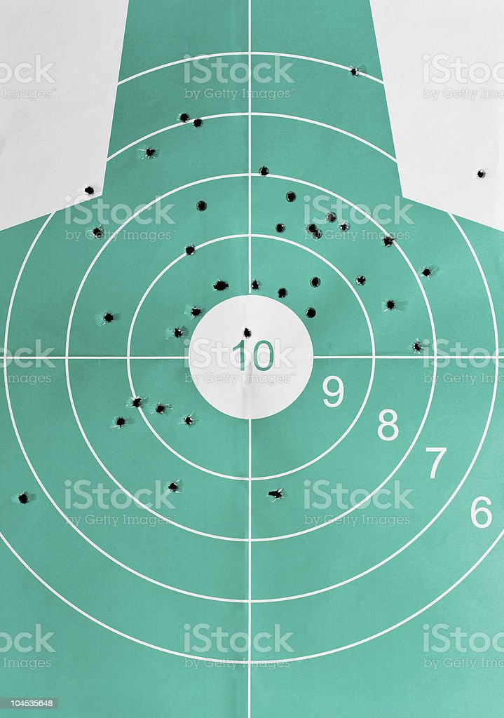 many miss hits and one strike in bulls eye royalty-free stock photo