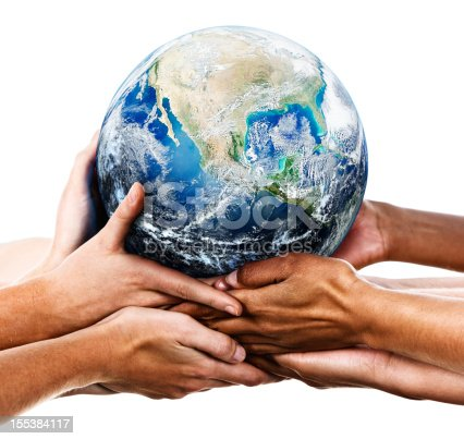Many mixed hands cradling our home planet. Shows environmental awareness and an acceptance of responsibility for the care of our earthly home.