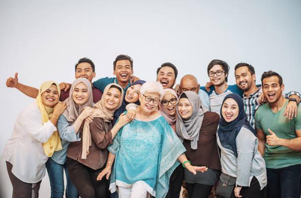 Many multi ethnic people having fun stock photo