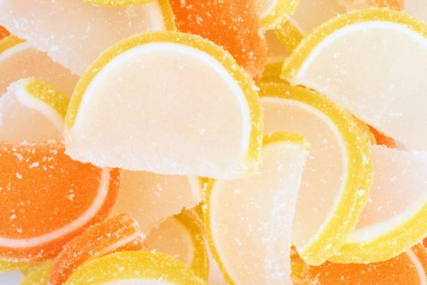 beaucoup multicolor gelée de fruits - demi cercle photos et images de collection