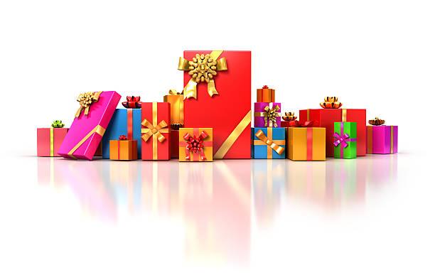 viele bunte geschenke - originelle geburtstagsgeschenke stock-fotos und bilder